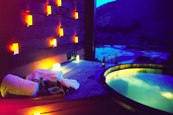 Onsen Hot Pools Queenstown night time