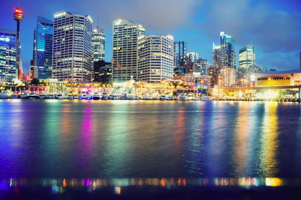 Sydney harbour night time landscape