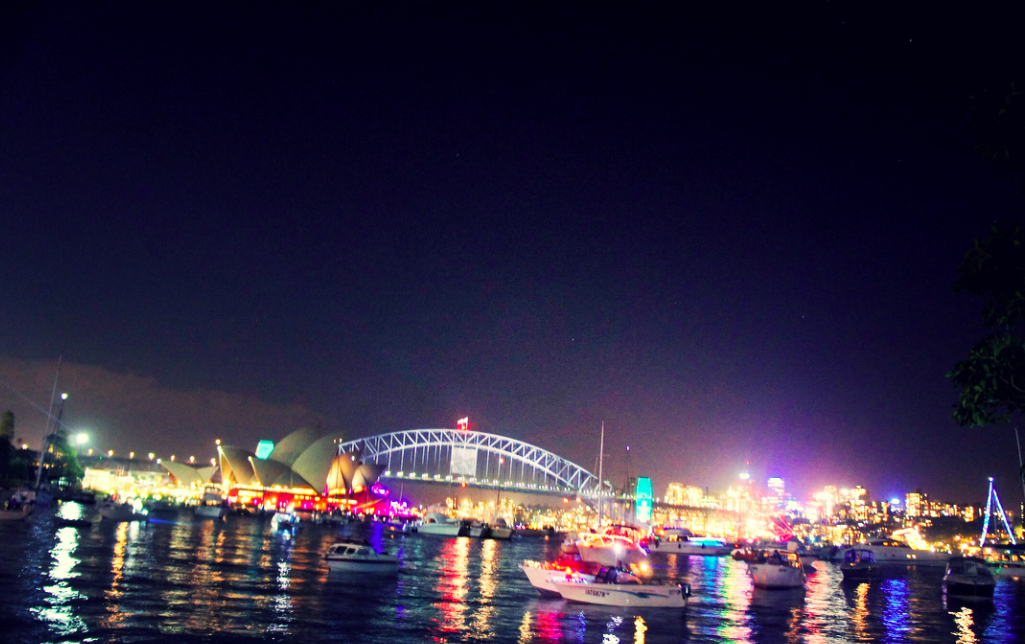 Sydney harbour night time landscape