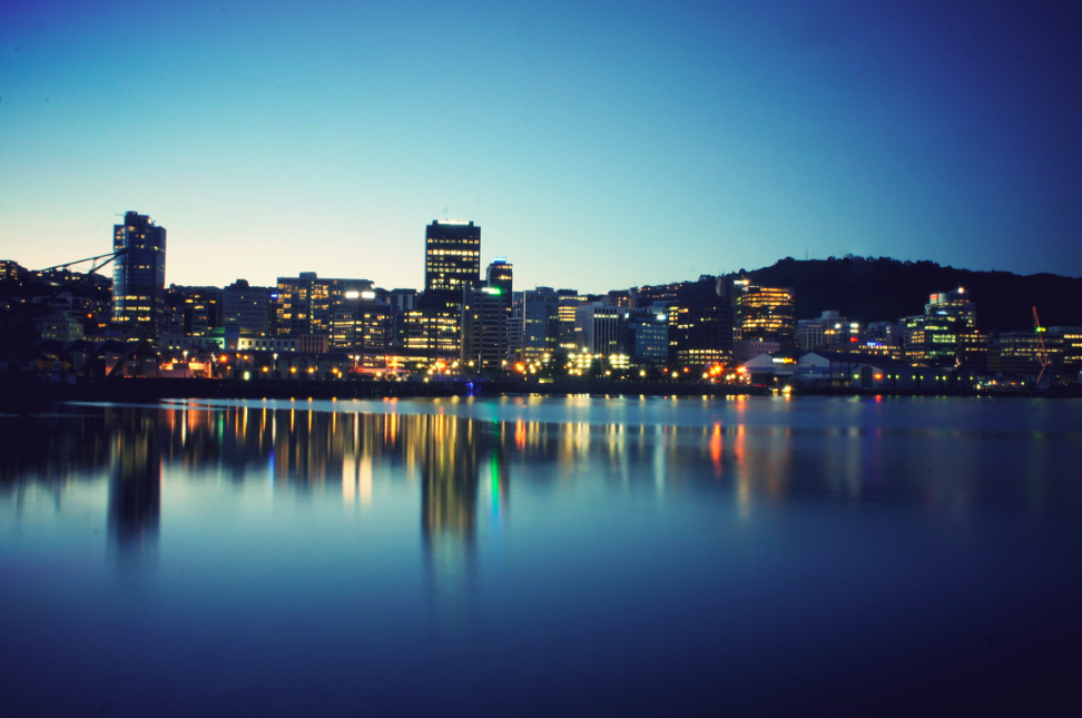 Wellington harbour night time landscape
