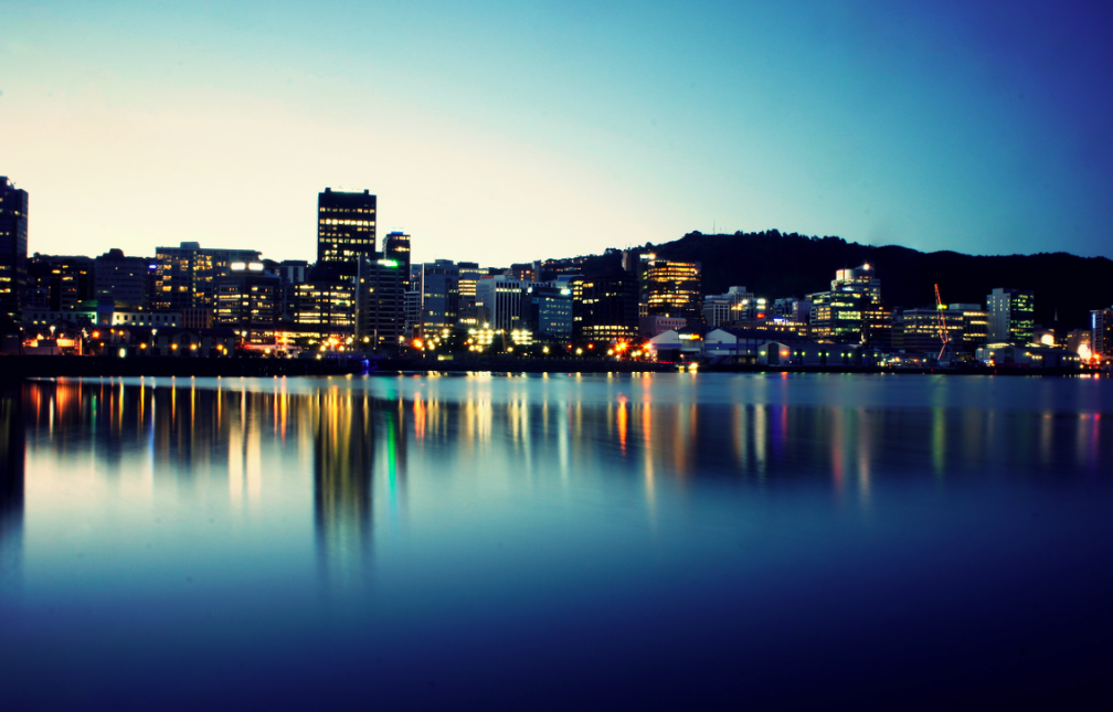 Wellington harbour night time landscape