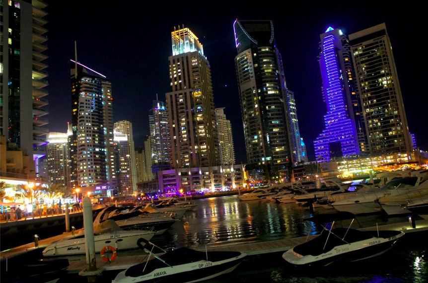 Dubai Marina night time landscape