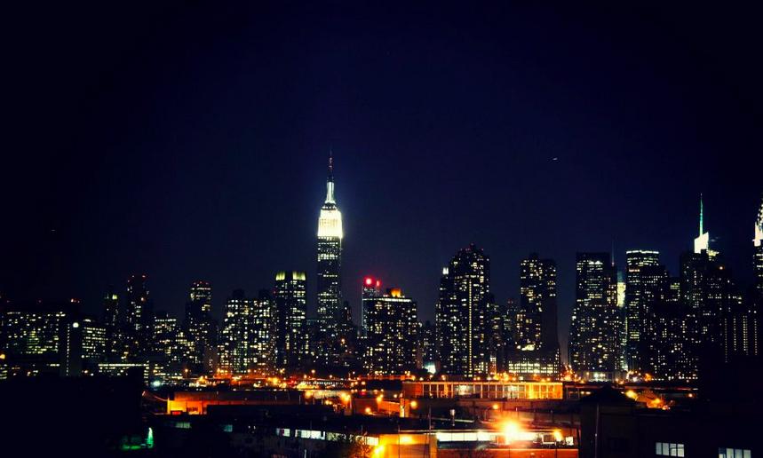 New York City night time sky scrapers