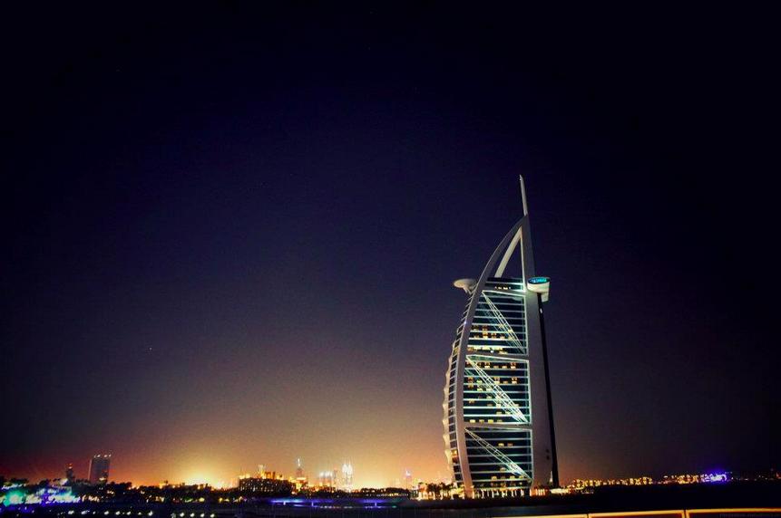 Dubai Marina night time landscape