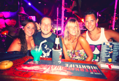 Making the most of the lively nightlife. And looking very tanned I might add!
