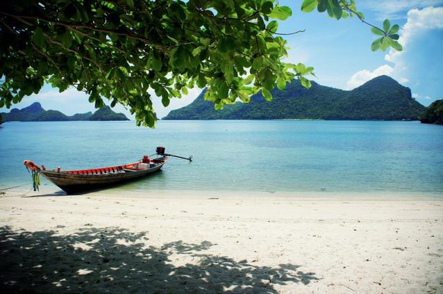 thailand beach sunshine aqua longboat