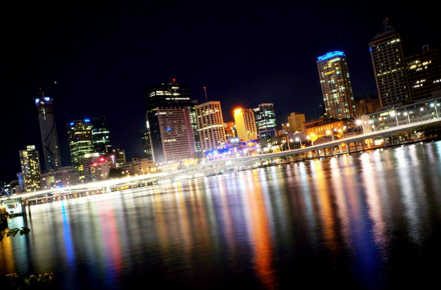 brisbane evening night time reflection