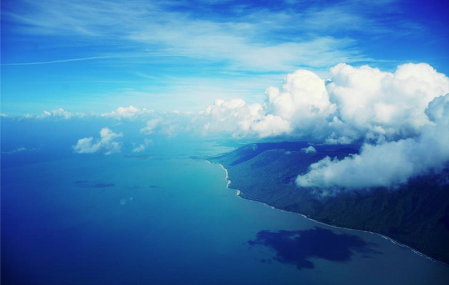 view from plane cairns clouds