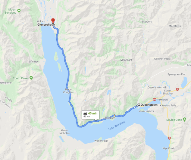 Driving from queenstown to glenorchy