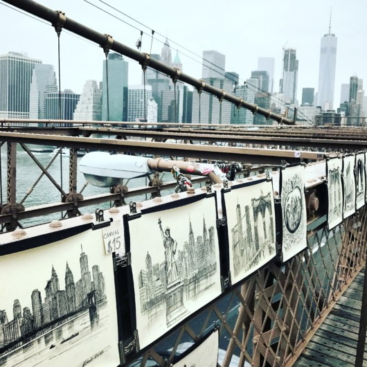 Photos of the Brooklyn Bridge sketches