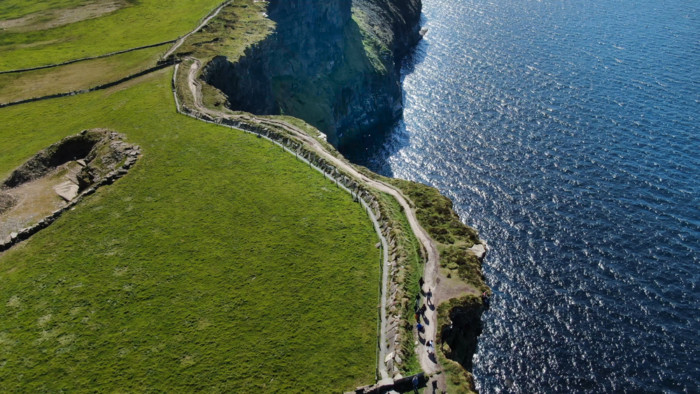 helicopter over cliffs of moher
