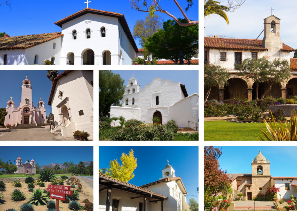 list of all 21 California missions plus mission map