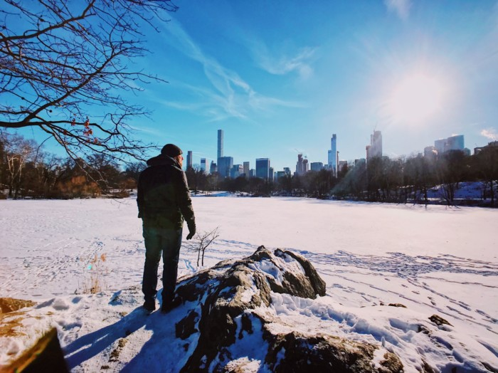 photos of central park in the snow