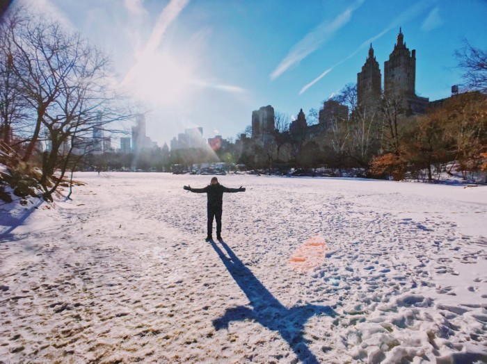 photos of beautiful central park in the snow