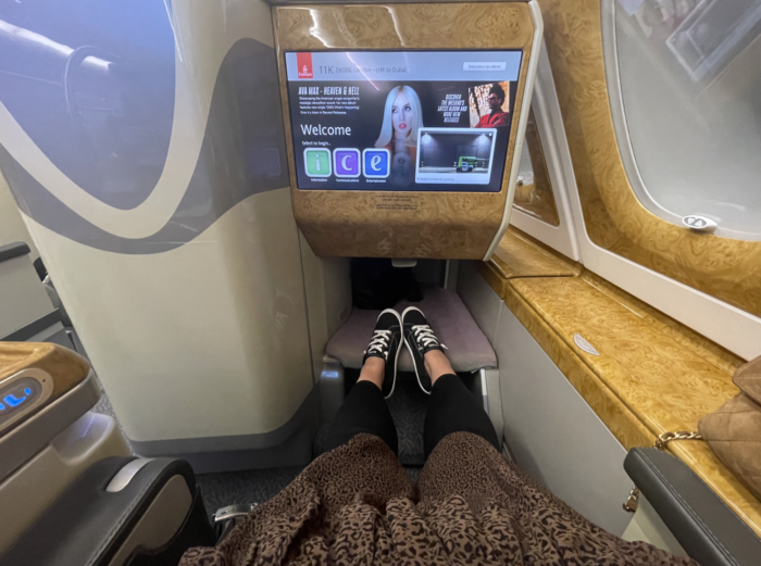 Emirates business class during pandemic 2021.