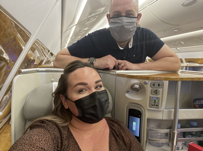 flying Emirates business class during pandemic 2021