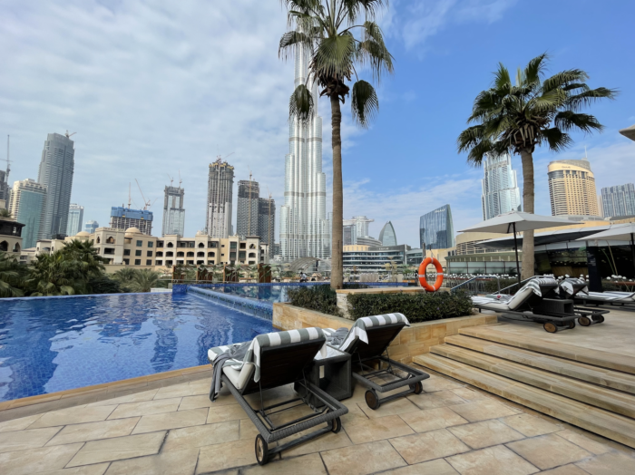 The Address Downtown Hotel in Dubai pool loungers