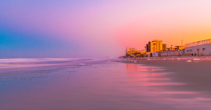 Beautiful,Ocean,Sunset,View,On,Ormond,Beach,In,Daytona,,Florida.